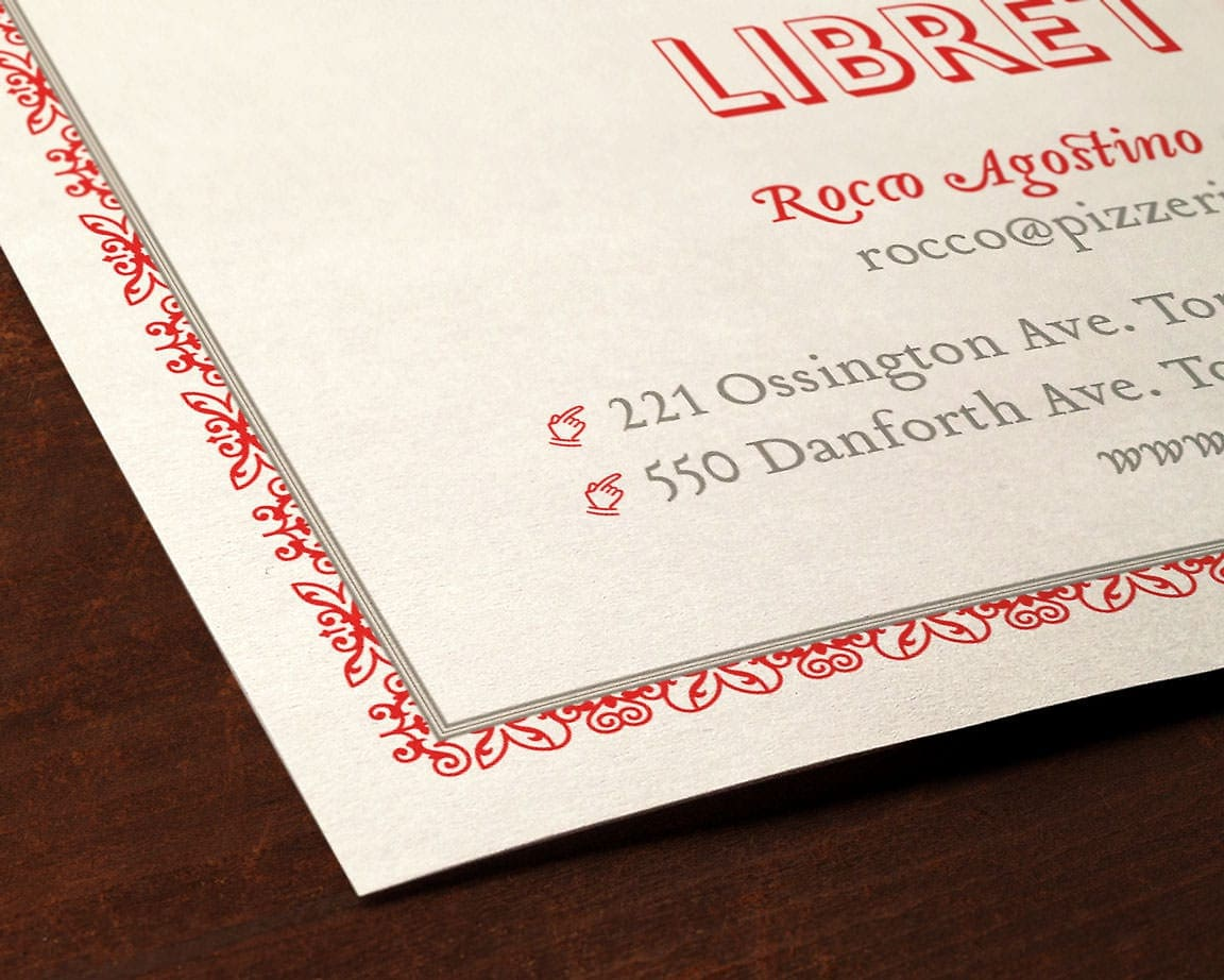 Pizzeria Libretto Business Card detail
